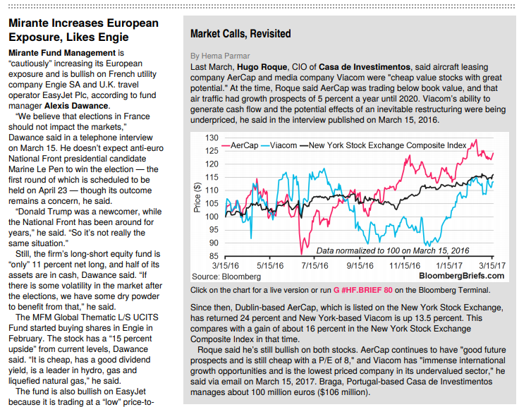 « Mirante Increases European Exposure, Likes Engie »